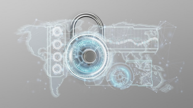 Padlock security technology interface isolated