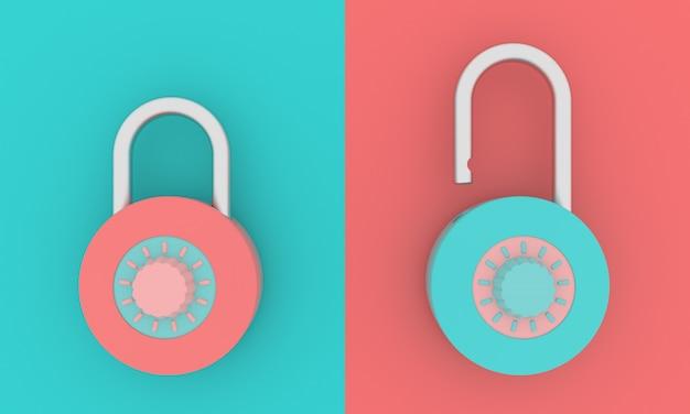 南京錠セットパステルアイコンロックとロック解除サインオン結合された背景シンボルパスワード開閉