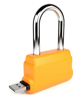Padlock with flash drive isolated on white background.