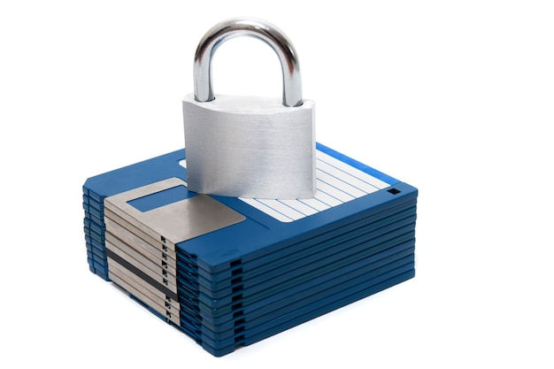 Padlock with floppy disks