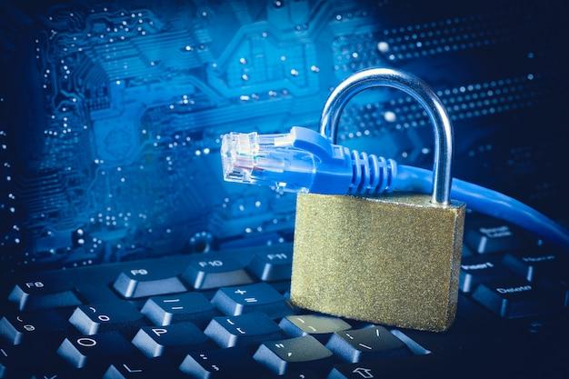 Padlock с концом кабеля сети локальных сетей вверх против голубой предпосылки материнской платы цепи.