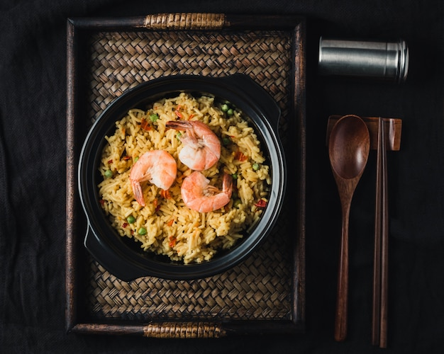Paella with prawns, traditional spanish recipe