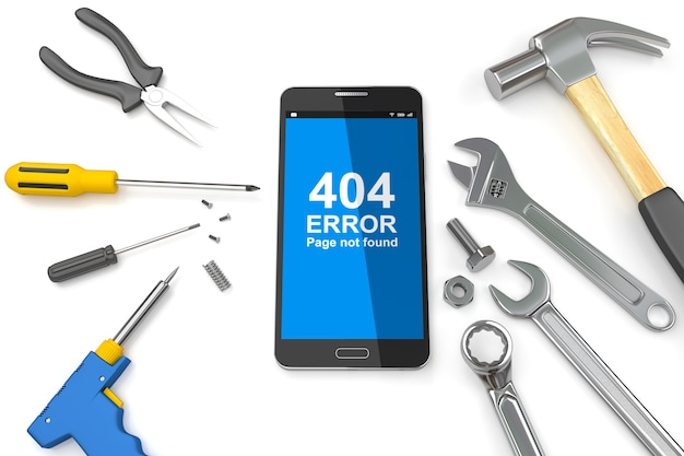 Page 404 error on smartphone with tools