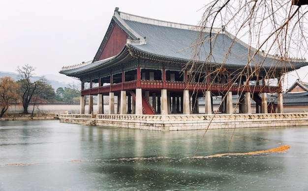 Pagoda in a beautiful winter park in seoul