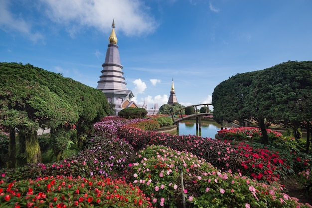 Pagoda and flower garden in doi inthanon national park, chiang mai, thailand