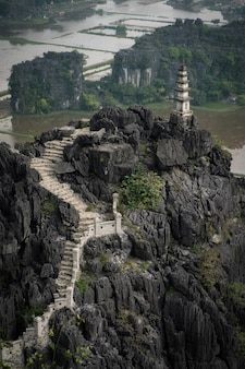Pagoda in the top of a hill in ninh binh