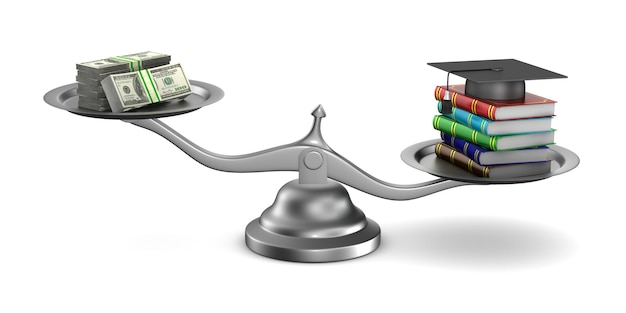 Paid education on white. isolated 3d illustration
