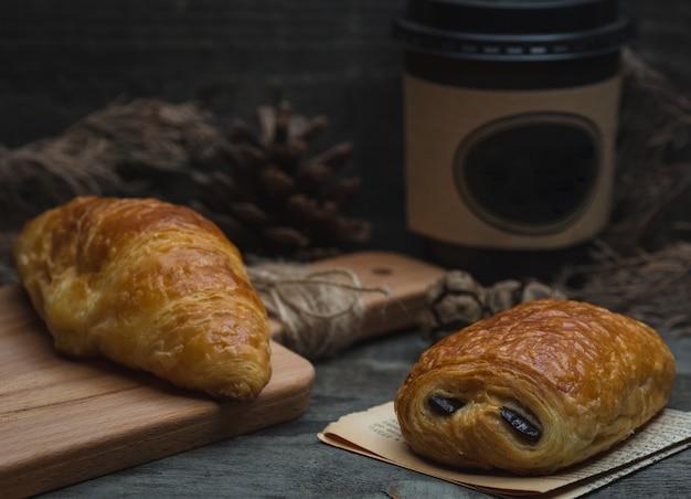 Pain au chocolat and croissant.