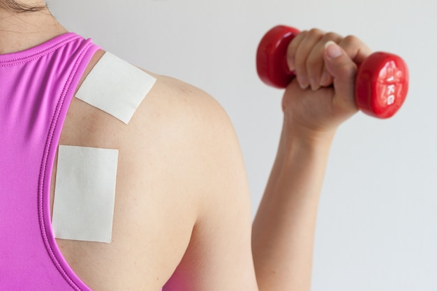 Pain relief patch for back injury treatment after exercise