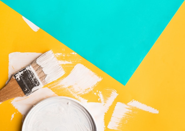 Paint brush on paper color texture background.art concept