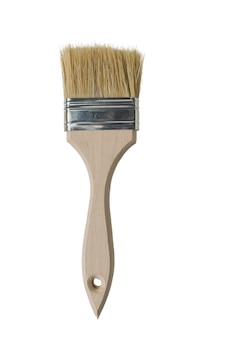 Paint brush with coarse bristles isolated on a white surface. materials for painting.