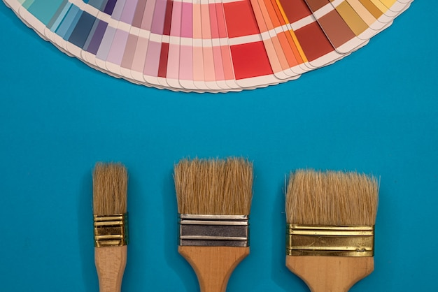 Paint brushes on palette of different colors and shades  for design