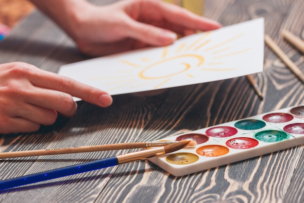 Paint brushes and palette