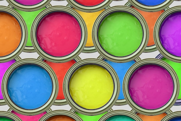 Paint cans colorful top view
