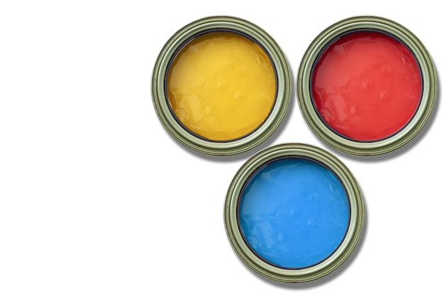 Paint cans primary colors blue red and yellow on white background