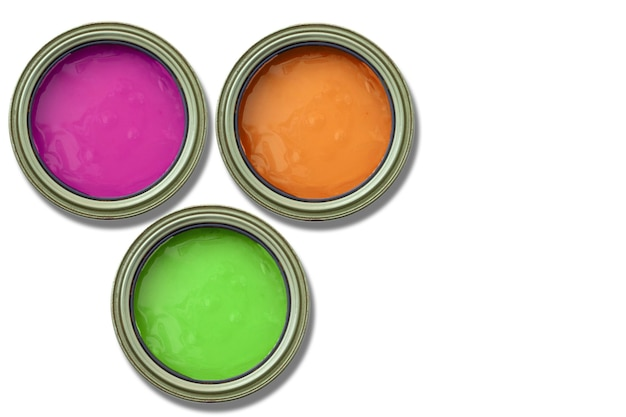 Paint cans, secondary colors, orange, purple and green, on white background.