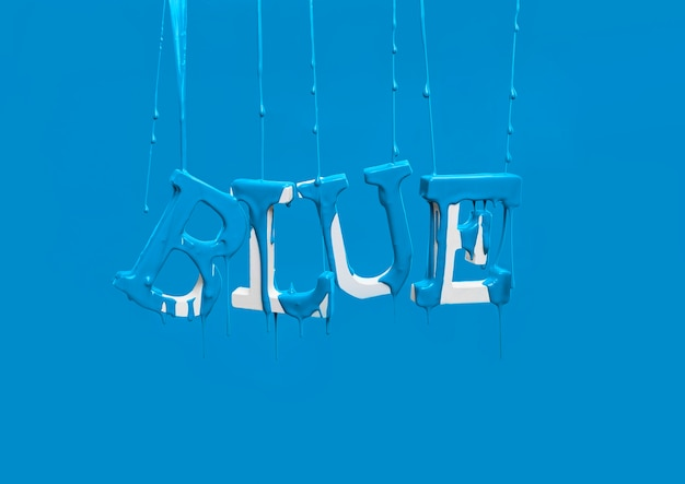 Paint dripping on floating word blue