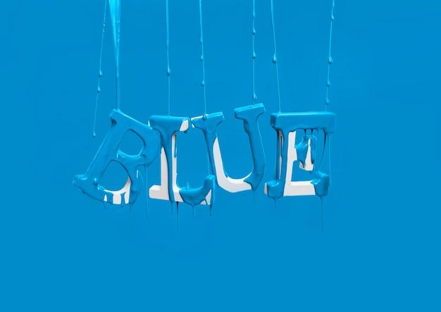 Краска капает на плавающее слово синий