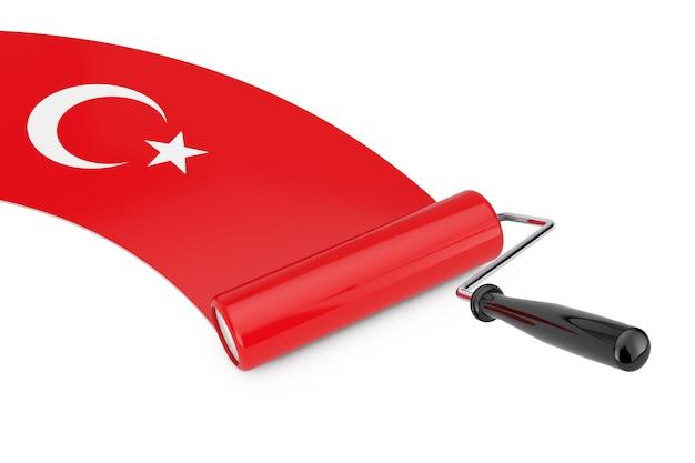 흰색 바탕에 터키 국기가 있는 페인트 롤러 브러시. 3d 렌더링