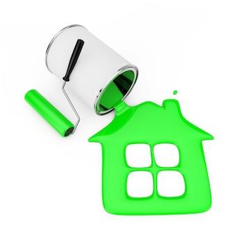 Валик возле зеленой краски, льющейся из банки с краской в силуэт дома на белом фоне. 3d рендеринг