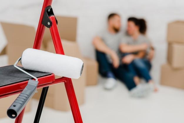 Paint roller on ladder