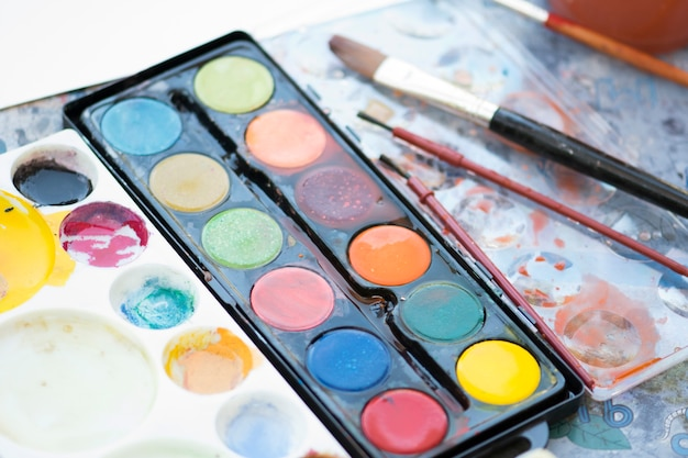 Paint set and palette with brush for child.