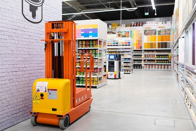 Paint shop with a large selection of products from many manufacturers of different colors.