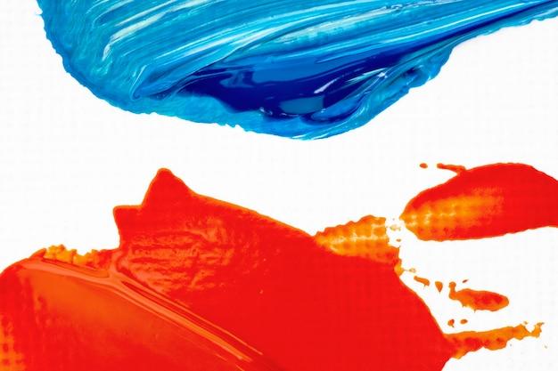 빨간색과 파란색 추상 크리에이 티브 아트에서 페인트 얼룩 질감 테두리 배경