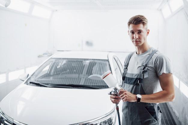 自動車産業における自動車塗装用の塗装スプレーマスター。