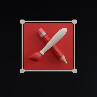 Paintbrush icon on black background