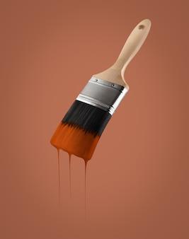 茶色の色で塗られたブラシは、髪の毛から垂れ下がっています。 Premium写真