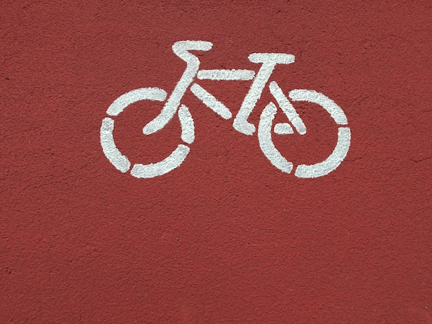 Painted bicycle on a bike path