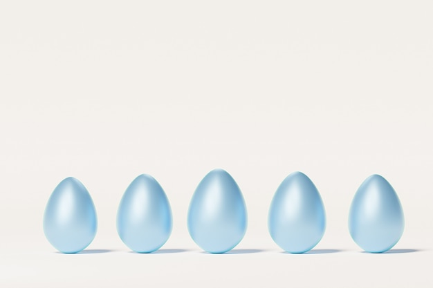 Окрашенные синие пасхальные яйца, бежевый нейтральный стол, весенняя апрельская праздничная открытка, изометрическая 3d визуализация