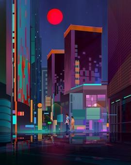 通りと歩行者で描かれた明るい夜の街並み
