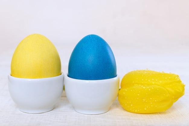 흰색 나무 테이블에 흰색 도자기 컵 받침 노란색 튤립에 닭고기 달걀을 그린