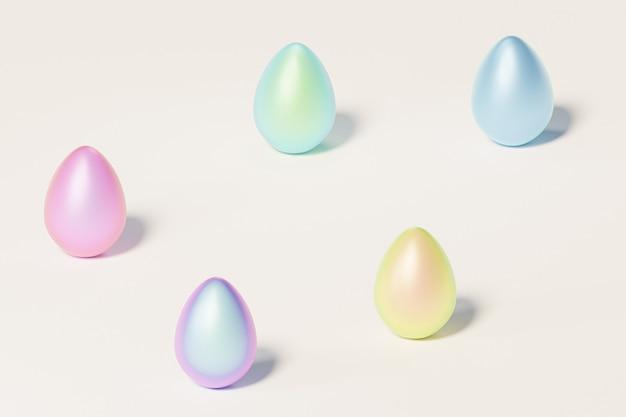 Окрашенные красочные пасхальные яйца, бежевая нейтральная стена, весенние апрельские праздники, изометрическая 3d визуализация