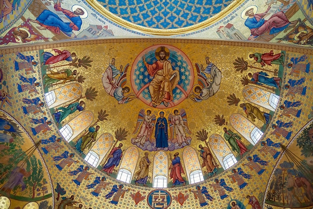 Painted dome of naval cathedral in kronshtadt, saint-petersburg, russia