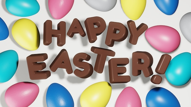 Painted easter eggs of trendy colors 2021 with chocolate text happy easter. flat lay, 3d render