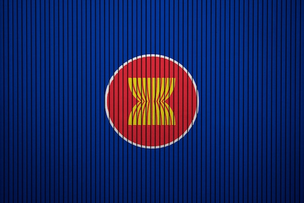 Painted flag of asean on a concrete wall