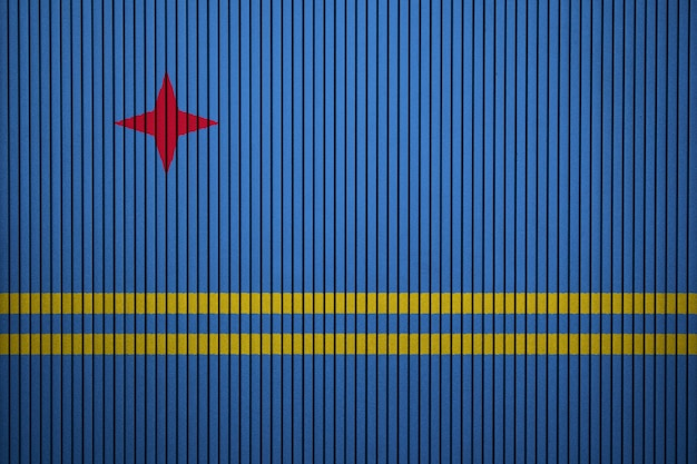 Painted national flag of aruba on a concrete wall