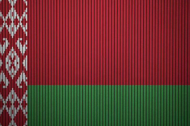 Painted national flag of belarus on a concrete wall
