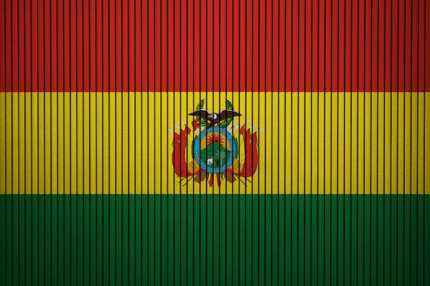 Painted national flag of bolivia on a concrete wall