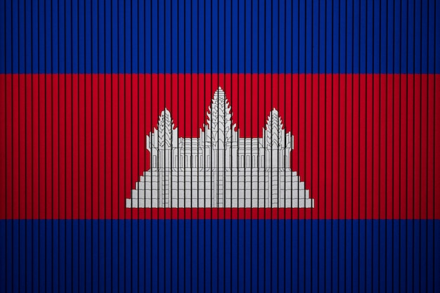 Painted national flag of cambodia on a concrete wall