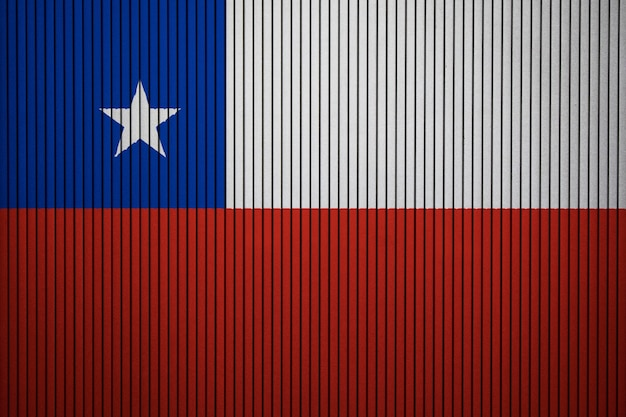 Painted national flag of chile on a concrete wall