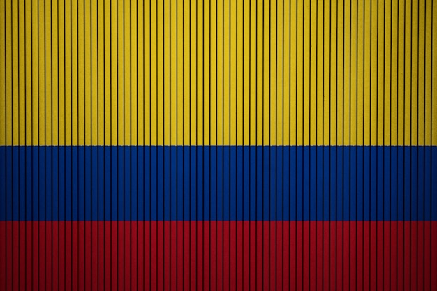 Painted national flag of colombia on a concrete wall