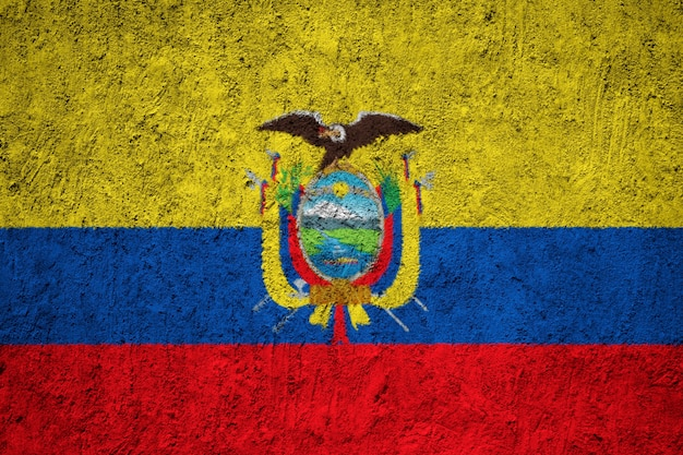 Painted national flag of ecuador on a concrete wall