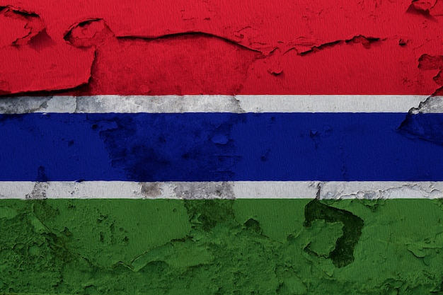 Painted national flag of gambia on a concrete wall