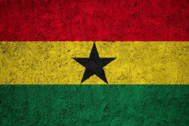 Painted national flag of ghana on a concrete wall