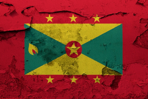 Painted national flag of grenada on a concrete wall