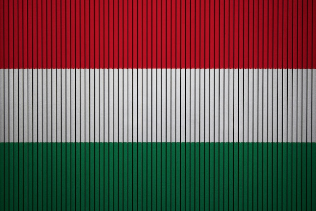 Painted national flag of hungary on a concrete wall